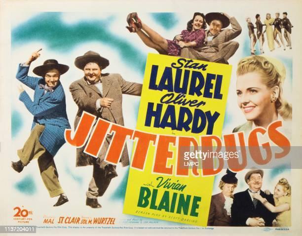 Jitterbugs, US lobbycard, Stan Laurel, Oliver Hardy, Vivian Blaine, 1943.