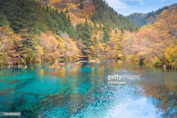 九寨溝は、中国四川省の北に位置する自然保護区と国立公園です。 - nature reserve ストックフォトと画像
