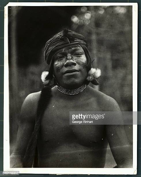 Photo shows a Jivaro warrior from the subtribe of the Aguarunas Undated photograph from the Underwood Underwood Collection