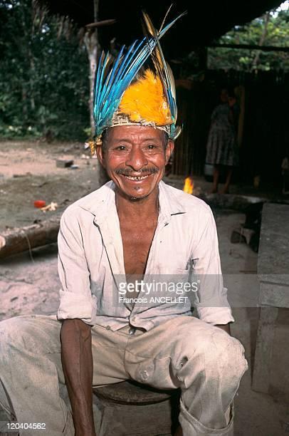 Jivaro indian Shaman Amazonia Ecuador River and rainforest people