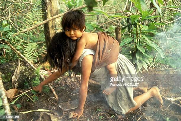 Jivaro Indians in Ecuador in 1994 Children from the Achuar ethnic group Rio Pindoyacu Amazonia