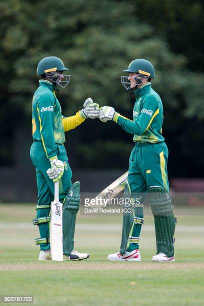 Jiveshan Pillay and Hermann Rolfes of South Africa bat during the ICC U19 Cricket World Cup Warm Up match between India and South Africa at Hagley...