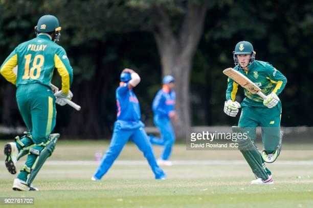 Jiveshan Pillay and Hermann Rolfes of South Africa make a run during the ICC U19 Cricket World Cup Warm Up match between India and South Africa at...