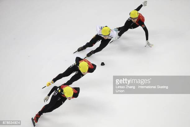 Jiwon Park of Korea with Sun Long Jia Haidong and Chen Dequan of China compete in the Men's 1000M duirng the 2017 Shanghai Trophy at the Oriental...