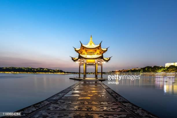 jixian pavilion in hangzhou west lake - hangzhou stock pictures, royalty-free photos & images