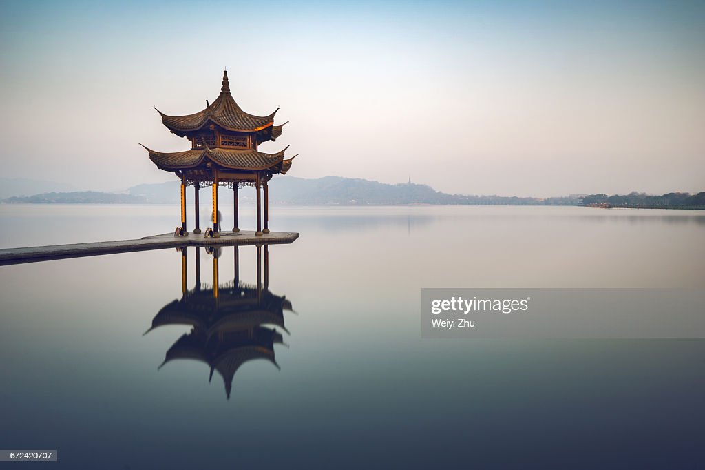 Jixian Pavilion on the West Lake : Stock Photo