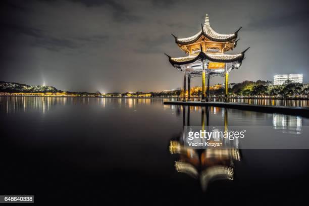 Jixian Pavillon and West Lake at Night, Hangzhou