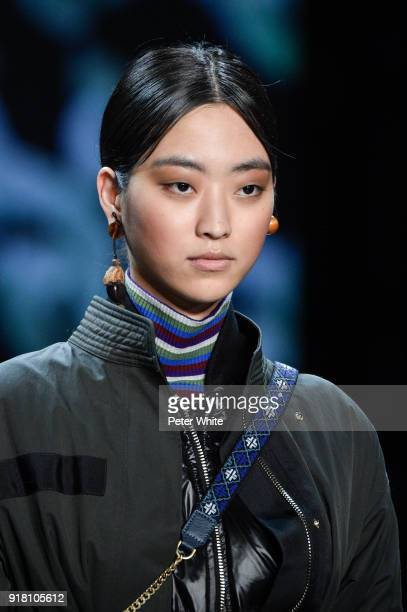 Jiya Kwon walks the runway at the Vivienne Tam show during New York Fashion Week at Gallery I at Spring Studios on February 13 2018 in New York City