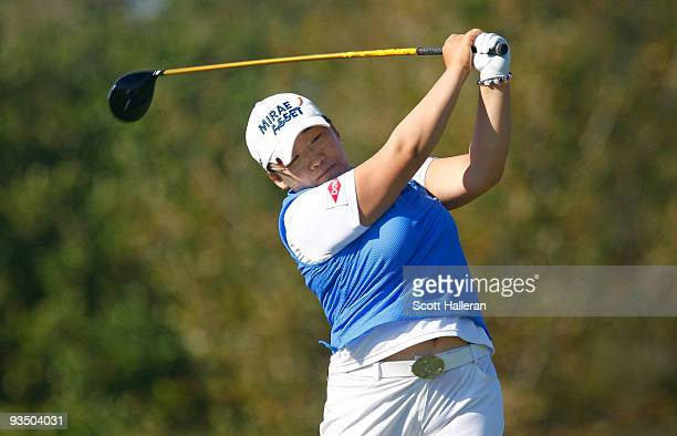 Jiyai Shin hits a shot during completion of the weatherdelayed second round of the LPGA Tour Championship presented by Rolex at the Houstonian Golf...