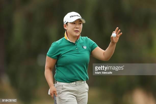 Jiyai Shin of South Korea acknowledges the crowd during day one of the ISPS Handa Australian Women's Open at Kooyonga Golf Club on February 15 2018...