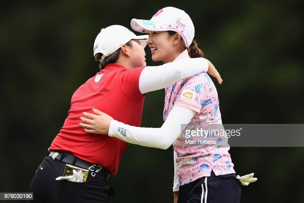 Jiyai Shin of South Korea and Rei Matsuda of Japan hug on the 18th green during the second round of the Nichirei Ladies at the Sodegaura Country Club...