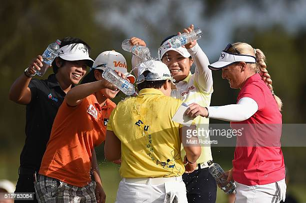 Jiyai Shin of South Korea celebrates winning on day four of the RACV Ladies Masters at Royal Pines Resort on February 28 2016 on the Gold Coast...