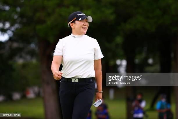 Jiyai Shin of South Korea celebrates winning the tournament through the playoff during the final round of Nichirei Ladies at Sodegaura Country Club...