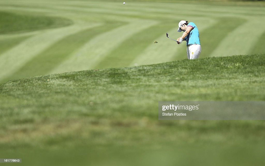 Jiyai Shin of South Korea hits down the fairway of the 4th hole during day three of the ISPS Handa Australian Open at Royal Canberra Golf Club on February 16, 2013 in Canberra, Australia.