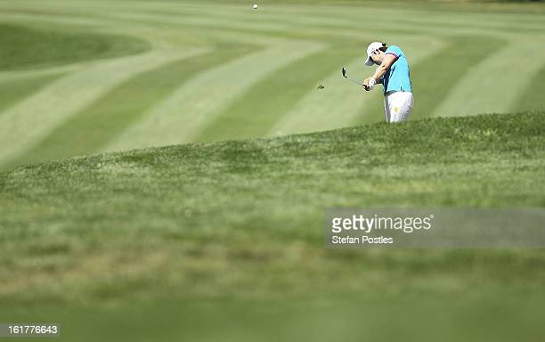 Jiyai Shin of South Korea hits down the fairway of the 4th hole during day three of the ISPS Handa Australian Open at Royal Canberra Golf Club on...