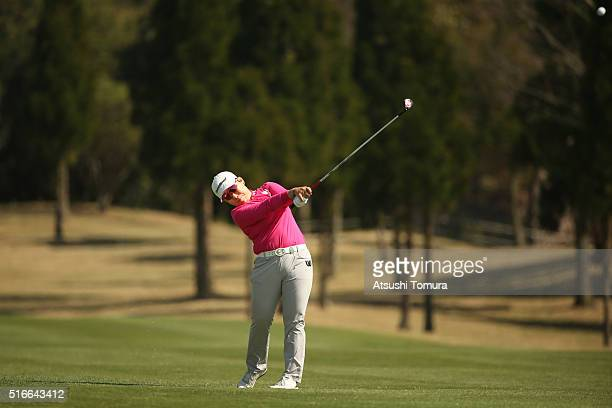 Jiyai Shin of South Korea hits her second shot on the 18th hole during the T-Point Ladies Golf Tournament at the Wakagi Golf Club on March 20, 2016...