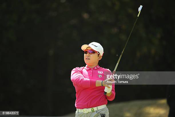 Jiyai Shin of South Korea hits her tee shot on the 3rd hole during the T-Point Ladies Golf Tournament at the Wakagi Golf Club on March 20, 2016 in...
