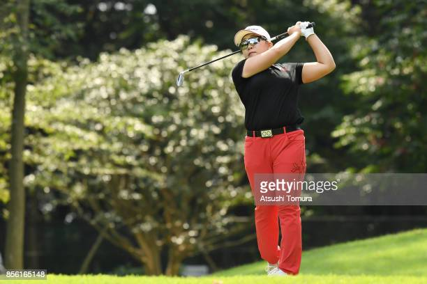 Jiyai Shin of SOuth Korea hits her tee shot on the 3rd hole during the final round of Japan Women's Open 2017 at the Abiko Golf Club on October 1...