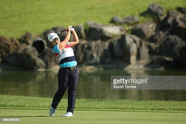 JiYai Shin of South Korea hits her third shot on the 15th hole during the final round of the Munsingwear Ladies Tokai Classic at the Shin Minami...