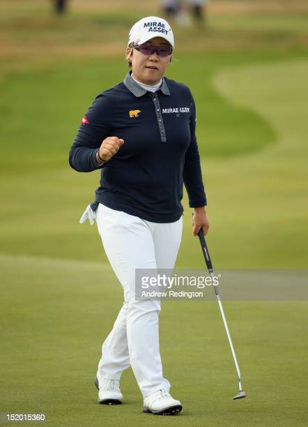 Jiyai Shin of South Korea in action during the second round of the Ricoh Women's British Open at Royal Liverpool Golf Club on September 15 2012 in...