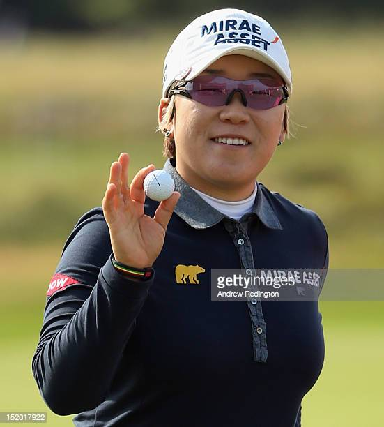 Jiyai Shin of South Korea in action during the second round of the Ricoh Women's British Open at Royal Liverpool Golf Club on September 15, 2012 in...