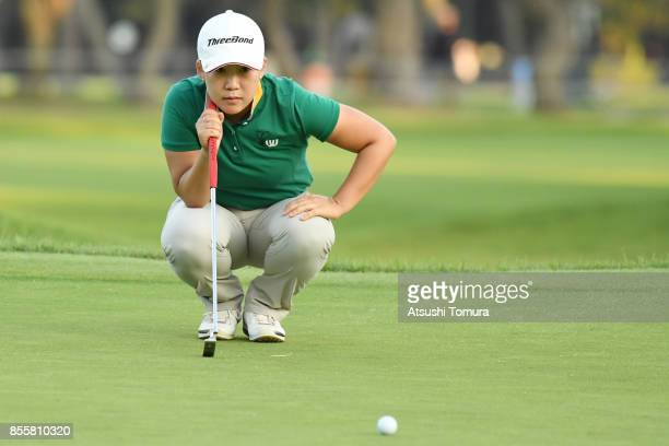 Jiyai Shin of South Korea lines up her putt on the 18th hole during the third round of Japan Women's Open 2017 at the Abiko Golf Club on September 30...