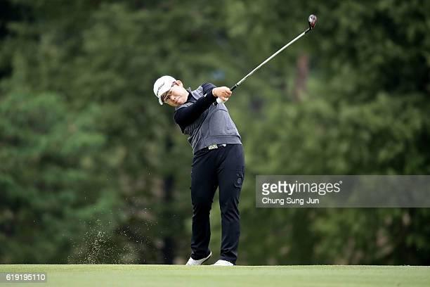 Jiyai Shin of South Korea plays a shot on the 18th green during the final round of the Mitsubishi Electric/Hisako Higuchi Ladies Golf Tournament at...