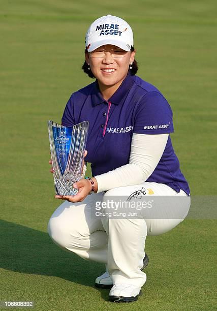 JiYai Shin of South Korea poses with the trophy after winning the Mizuno Classic at Kintetsu Kashikojima Country Club on November 7 2010 in Shima...