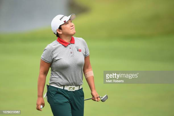 Jiyai Shin of South Korea reacts after her putt on the 5th green during the third round of the 2018 LPGA Championship Konica Minolta Cup at Kosugi...