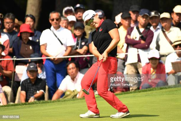 Jiyai Shin of SOuth Korea reacts during the final round of Japan Women's Open 2017 at the Abiko Golf Club on October 1 2017 in Abiko Chiba Japan