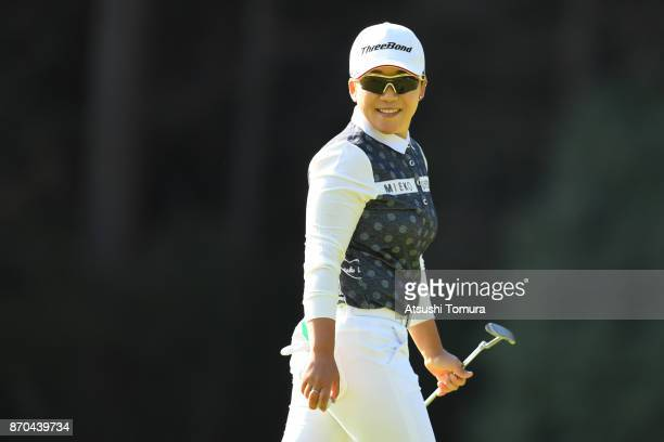 Jiyai Shin of South Korea smiles during the final round of the TOTO Japan Classics 2017 at the Taiheiyo Club Minori Course on November 5 2017 in...