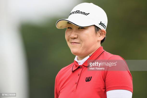 Jiyai Shin of South Korea smiles during the second round of the Nichirei Ladies at the Sodegaura Country Club Shinsode Course on June 16 2018 in...