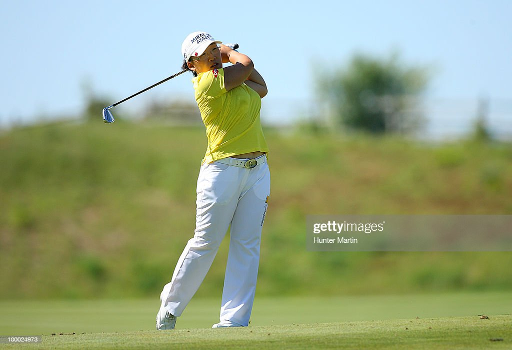 Jiyai Shin of South Korea watches her second shot on the 15th hole during the first round of the Sybase Match Play Championship at Hamilton Farm Golf Club on May 20, 2010 in Gladstone, New Jersey.