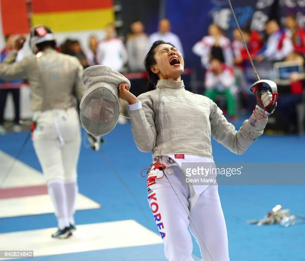 Jiyeon Kim of Korea celebrates a win over Saoussen Boudiaf of France during the final rounds of the SK Telecom Seoul Sabre Grand Prix on April 1 2018...