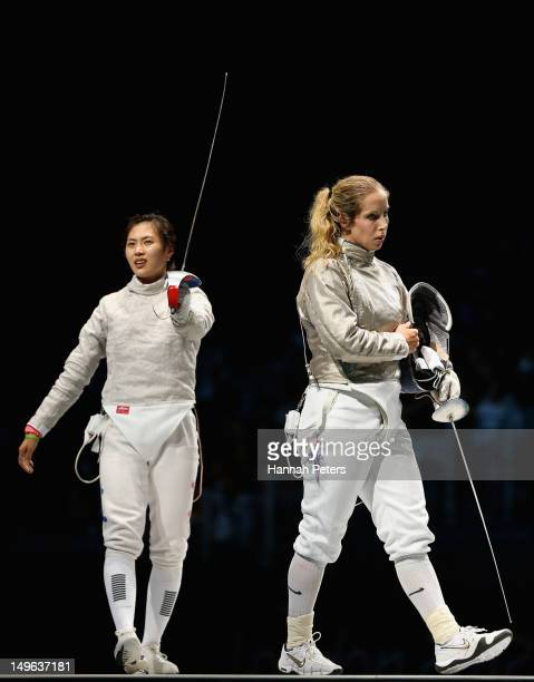 Jiyeon Kim of Korea celebrates victory in the Women's Sabre Individual Fencing Semi Final against Mariel Zagunis of the United States on Day 5 of the...