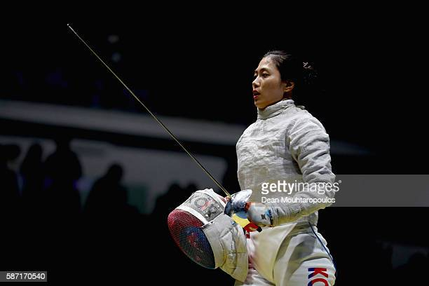 Jiyeon Kim of Korea looks on during the Women's Individual Sabre on Day 3 of the Rio 2016 Olympic Games at Carioca Arena 3 on August 8 2016 in Rio de...