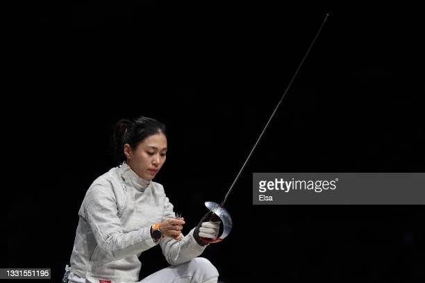 Jiyeon Kim of Team South Korea during her match against Team Hungary in Women's Sabre Fencing Team Quarterfinal on day eight of the Tokyo 2020...