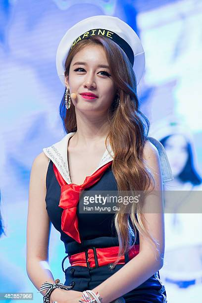Jiyeon of South Korean girl group Tara attends the press showcase for their 11th Mini Album 'So Good' on August 3 2015 in Seoul South Korea
