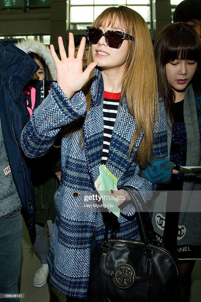 Jiyeon (Ji-Yeon) of South Korean girl group T-ara is seen at Incheon International Airport on January 15, 2013 in Incheon, South Korea.