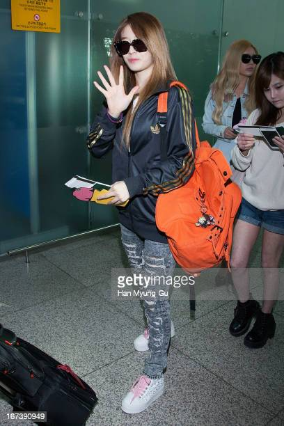 Jiyeon of South Korean girl group Tara is seen on departure at Incheon International Airport on April 24 2013 in Incheon South Korea