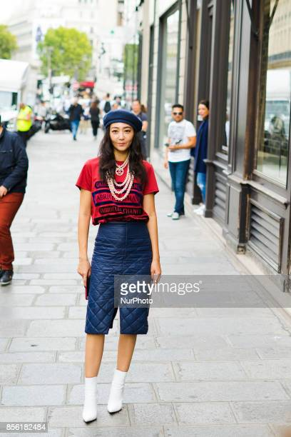 Jiyoung Kim is seen attending Undercover during Paris Fashion Week wearing Chanel on September 29 2017 in Paris France