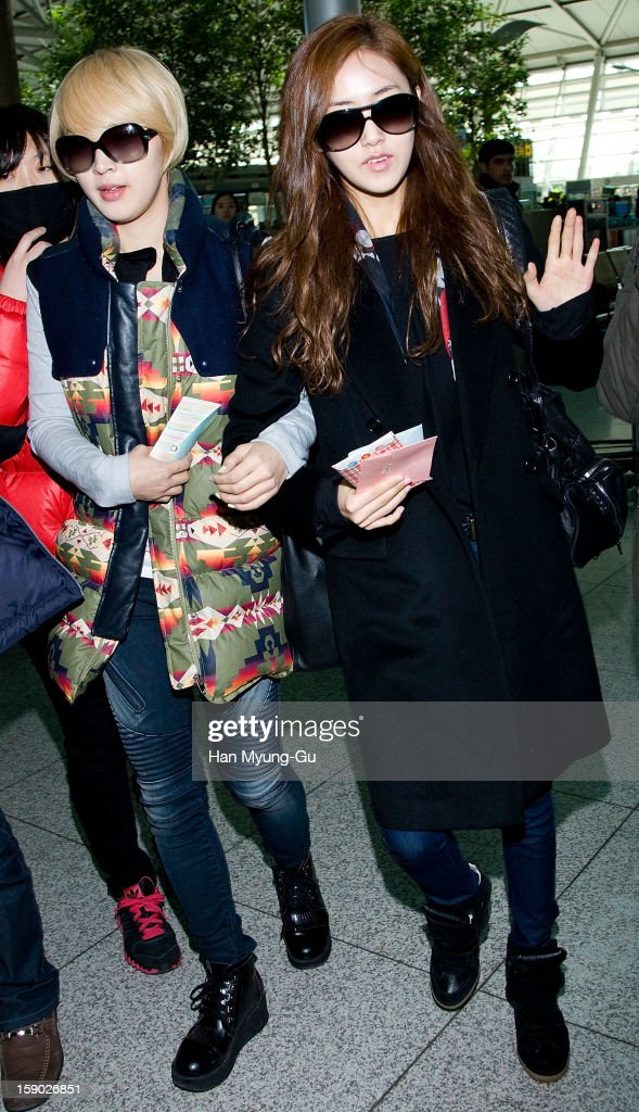 Jiyun and Gayun of South Korean girl group 4minute are seen at Incheon International Airport on January 5, 2013 in Incheon, South Korea.