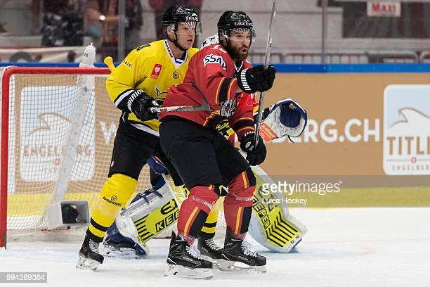 JJacob Lagace of Lulea Hockey in front of Frans Tuohimaa of SaiPa Lappeenranta during the Champions Hockey League match between Lulea Hockey and...