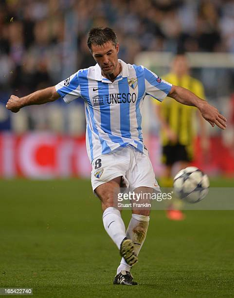 JJérémy Toulalan of Malaga in action during the UEFA Champion League quarter final first leg match between Malaga CF and Borussia Dortmund at La...