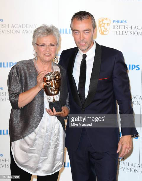 JJulie Walters and John Hannah pose at the Winners Boards at the Philips British Academy Television awards at the London Palladium on June 6 2010 in...