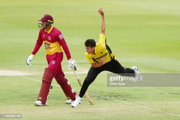 Jkye Richardson of Western Australia bowls during the Marsh One Day Cup Final between Queensland and Western Australia at the Allan Border Field on...