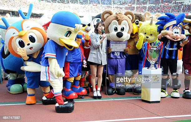 League female manager Miki Sato and mascots of JLeague clubs are seen prior to the FUJI XEROX SUPER CUP 2015 match between Gamba Osaka and Urawa Red...