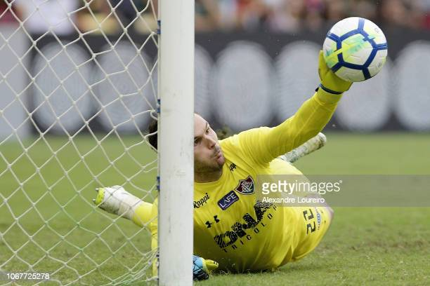 Júlio César of Fluminense makes a save during the match between Fluminense and AmericaMG as part of Brasileirao Series A 2018 at Maracana Stadium on...