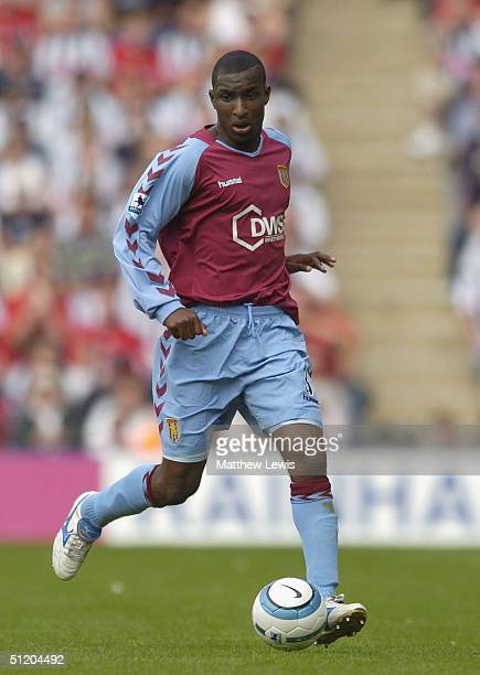 Jlloyd Samuel of Aston Villa in action during the Barclays Premiership match between West Bromwich Albion and Aston Villa at The Hawthorns on August...