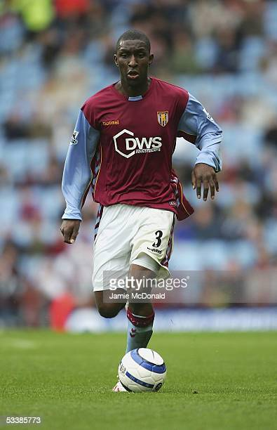 Jlloyd Samuel of Aston Villa in action during the Barclays Premiership match between Aston Villa and Bolton Wanderers at Villa Park on August 13 2005...